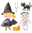 kids in halloween outfit vector image