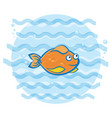 little goldfish swimming under water print for vector image
