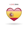 love spain symbol flag heart glossy icon vector image