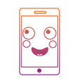 mobile phone character emoticon face kawaii vector image vector image