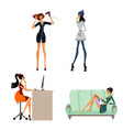 modern girls in situations vector image vector image