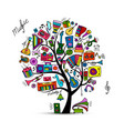 music instruments tree sketch for your design vector image vector image