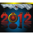 new year 2012 card as golden watch and blue fir wi vector image
