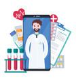 online doctor healthcare consultation via vector image vector image