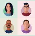 people faces cartoon vector image vector image