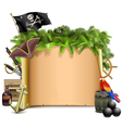 pirate scroll with palm vector image vector image