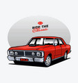 red muscle car vector image