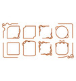 rope frames hemp thread square and round borders vector image vector image
