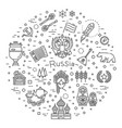 russian culture icons culture signs of russia vector image vector image