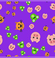 seamless pattern of pig head cat and frog vector image vector image