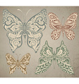 set vintage ornamental butterflies isolated on vector image