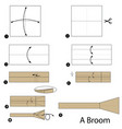 step instructions how to make origami a broom vector image vector image