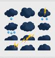 storm cloud bolt icon set flat set cloud vector image