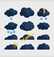 storm cloud bolt icon set flat set storm cloud vector image