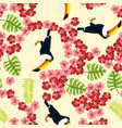 summer seamless pattern with tropical bird toucan vector image