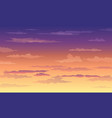 sunset sky in yellow-violet color with clouds vector image
