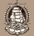 Tattoo Style Pirate Ship In Crest vector image vector image