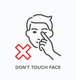 touching face line icon outline vector image vector image