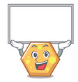 up board hexagon character cartoon style vector image vector image