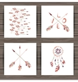 Valentines day cards with dream catcher and arrows vector image vector image