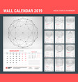 wall calendar template for 2019 year with vector image vector image