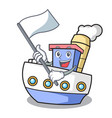 with flag ship mascot cartoon style vector image
