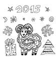 set new year symbol 2015 sheep spruce snowflakes vector image
