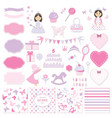 birthday and girl baby shower design elements set vector image