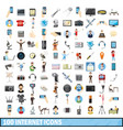 100 internet icons set cartoon style vector image