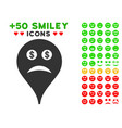 bankrupt smiley map marker icon with bonus vector image vector image