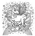beautiful unicorn on a rainbow black and white vector image vector image