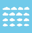 cartoon flat set of white clouds isolated on blue vector image