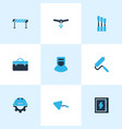 construction icons colored set with chisel case vector image