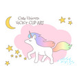 cute magical unicorn with rainbow tail lovely vector image vector image