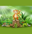 cute monkey cartoon waving and standing on tree st vector image vector image
