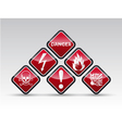 Danger round corner warning sign set vector image