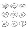 doodle style speaking bubbles vector image vector image