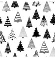 doodle tree pattern black on white seamless vector image vector image