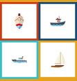 flat icon boat set of transport delivery vector image vector image