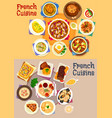 french cuisine dishes for lunch menu icon set vector image vector image