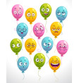 funny cartoon emoji balloons set colorful smiley vector image