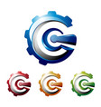 g letter initial abstract 3d gear machine logo vector image