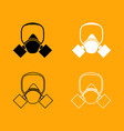 gas mask black and white set icon vector image