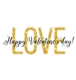 Gold glittering lettering Valentines day card vector image