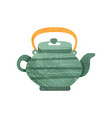 green teakettle with stripes and orange handle vector image