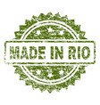grunge textured made in rio stamp seal vector image vector image