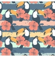 Hand drawn seamless vintage pattern with toucans vector image vector image