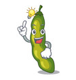 have an idea green beans pod isolated on mascot vector image