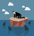 Helpless businessman on a small island which vector image