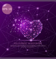 love heart purple background futuristic wire frame vector image